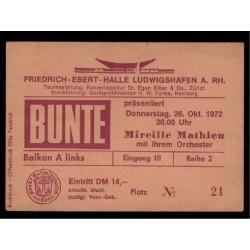 Mathieu, Mireille - DEU - 26.10.1972 Concert Ticket